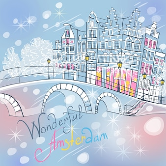 Vector kerst amsterdamse gracht en typische huizen