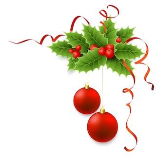 Vector kerst hulst met bessen.