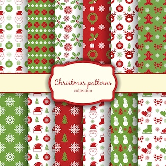 Vector kerst naadloze patronen voor xmas kaarten en cadeaupapier