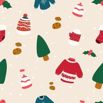 Vector kerst patroon. kerst naadloze patroon