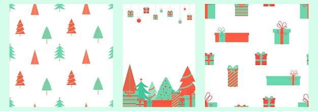 Vector kerst patroon set met geschenken en sparren in rode en groene kleuren witte achtergrond
