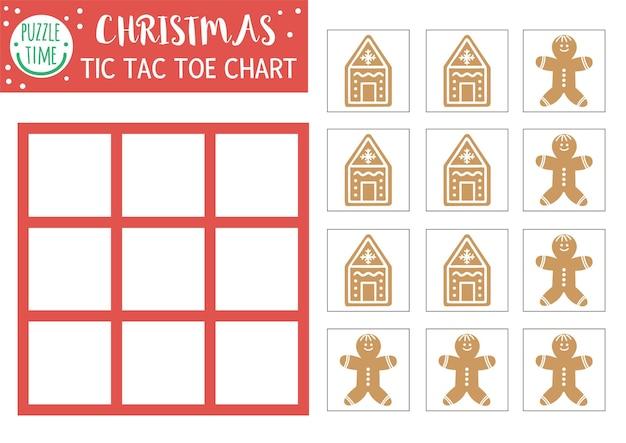 Vector kerst tic tac toe grafiek met schattige peperkoek man. winter bordspel speelveld met traditionele karakters. grappig recreatief afdrukbaar werkblad voor kinderen. noughts en kruisen raster