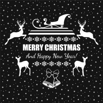 Vector kerstgroet met slee en rendieren