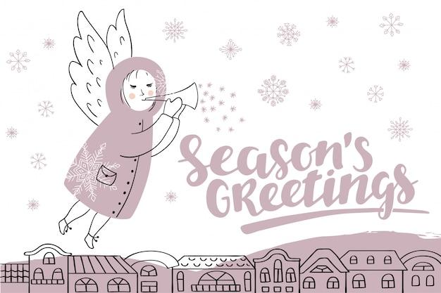 Vector kerstkaart met letters en engel.