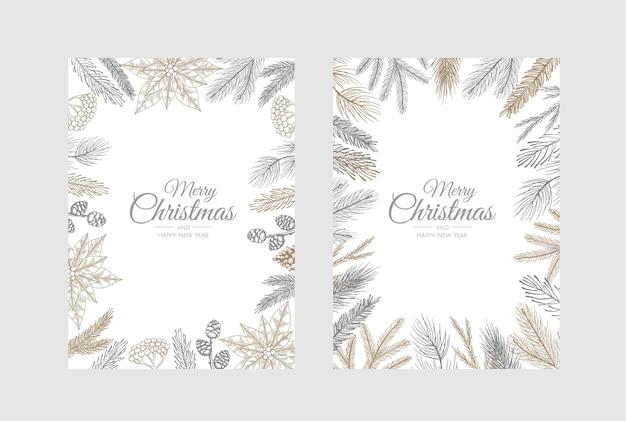 Vector kerstkaarten instellen. holiday party card sjablonen ontwerpen.