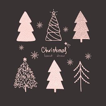 Vector kerstmis en nieuwjaar hand getrokken set