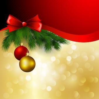 Vector kerstmisachtergrond met boog en ballen