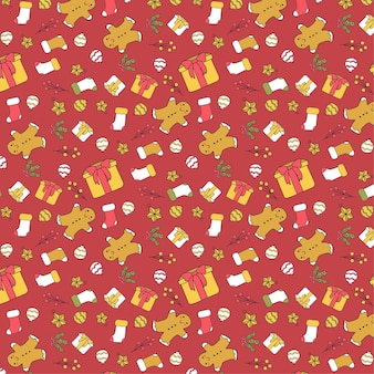 Vector kerstpatroon op rode achtergrond