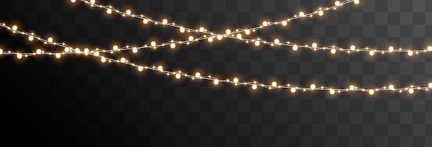 Vector kerstslinger op een geïsoleerde transparante achtergrond lichte lichte slinger, png