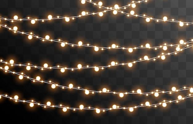 Vector kerstslinger op een geïsoleerde transparante achtergrond lichte lichte slinger, png Premium Vector