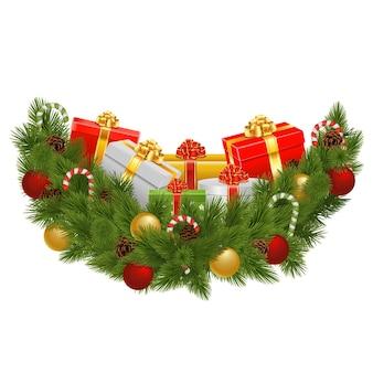 Vector kerstversiering met geschenken geïsoleerd op een witte achtergrond
