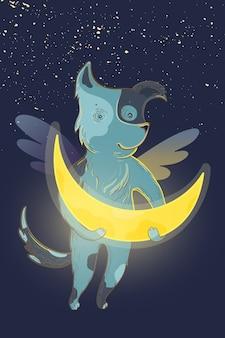 Vector kinderen fee illustratie met dromerige hond en maan.
