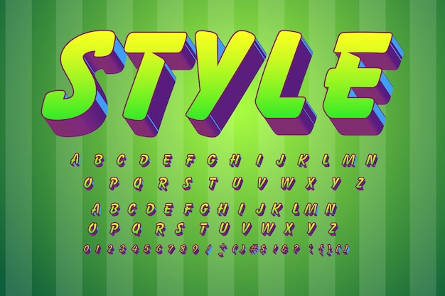 Vector kinderen lettertype 3d vetgedrukte typografie zonder serif stijl voor poster