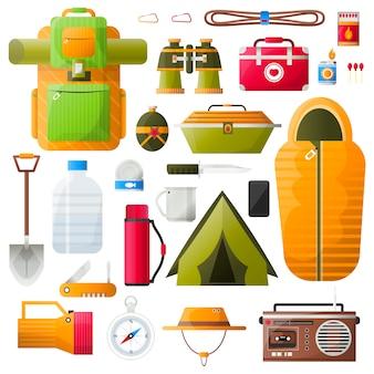 Vector kit items om te overleven.