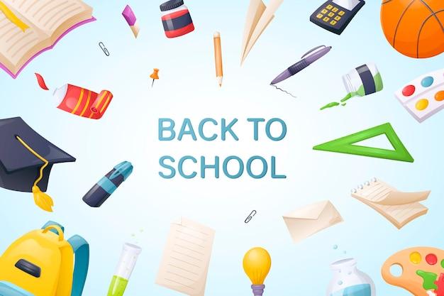 Vector klaar schoolsjabloon. banner of achtergrond met terug naar schoolinschrijving. briefpapier en benodigdheden stickers in cartoon-stijl.