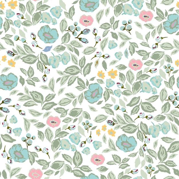 Vector klassieke en retro roze bloemen botanische illustratie motief naadloos herhaalpatroon digitaal Premium Vector