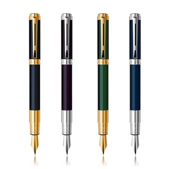 Vector klassieke pennenset met reflectie. goud en zilver