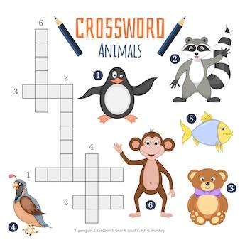 Vector kleur kruiswoordraadsel, educatief spel voor kinderen over dieren