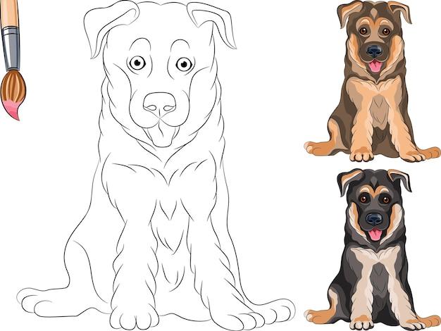 Vector kleurboek van lachende puppy hond duitse herder
