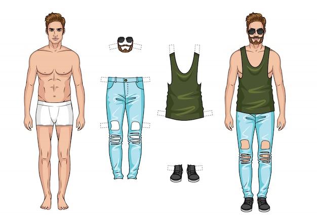 Vector kleurenillustratie. de man met een reeks kleren op witte achtergrond wordt geïsoleerd die.