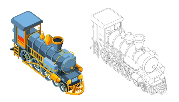 Vector kleurplaat met 3d-modeltrein. isometrische vooraanzicht. vintage retro trein grafische vector. geïsoleerd. kleurplaat en kleurrijke trein.