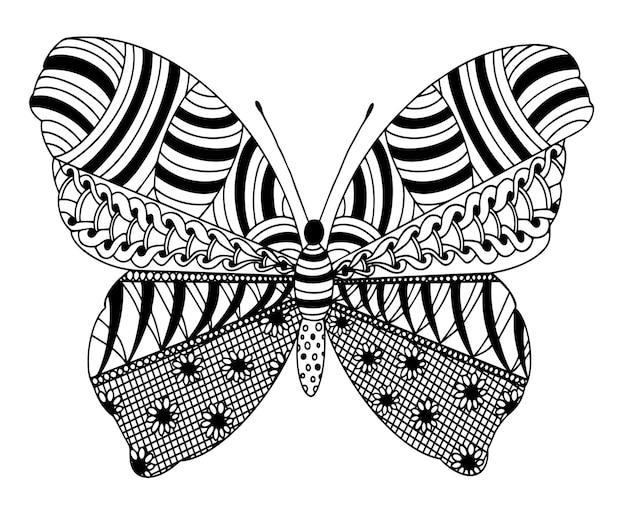Vector kleurplaat met vlinder uit zentangle patronen