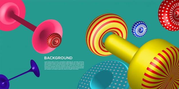 Vector kleurrijke 3d geometrische retro achtergrond met tekstsjabloon
