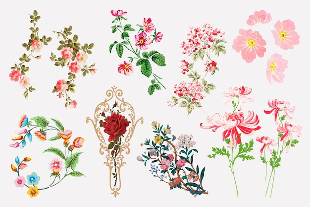 Vector kleurrijke bloem clipart set