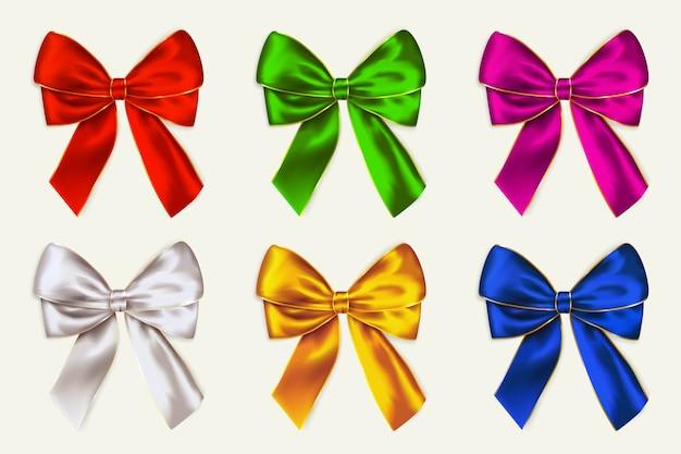 Vector kleurrijke bogen. linten voor kerstontwerp, cadeaubon of wenskaarten.