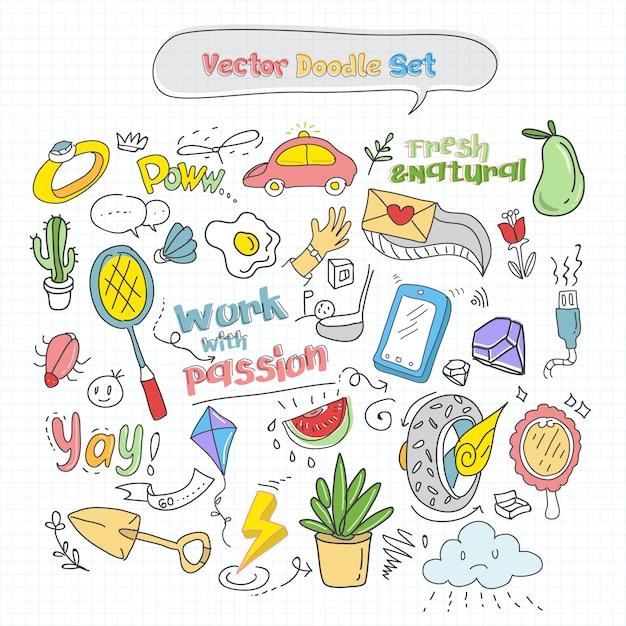 Vector kleurrijke doodle set