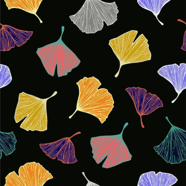Vector kleurrijke ginkgo boom blad illustratie motief naadloze herhalingspatroon
