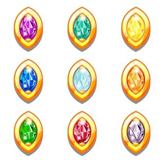 Vector kleurrijke gouden amuletten met diamanten