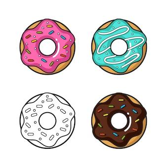 Vector kleurrijke icoon van vier donuts geïsoleerd op een witte achtergrond