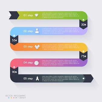 Vector kleurrijke info graphics voor uw bedrijfspresentaties. kan gebruikt worden voor info graphics, grafische of website layout vector, genummerde banners, diagram, horizontale uitgesneden lijnen, webdesign.
