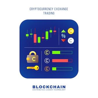Vector kleurrijke platte ontwerp blockchain cryptocurrency uitwisseling handel principe regeling valuta kaarsen tarieven, portemonnee sleutel, bestellingen illustratie blauw afgerond vierkant pictogram geïsoleerd witte achtergrond