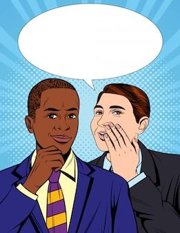 Vector kleurrijke pop-art grappige stijlillustratie van één zakenman die een geheime informatie vertellen aan zijn collega. portret van twee jonge knappe jongens in pak die een dialoog hebben