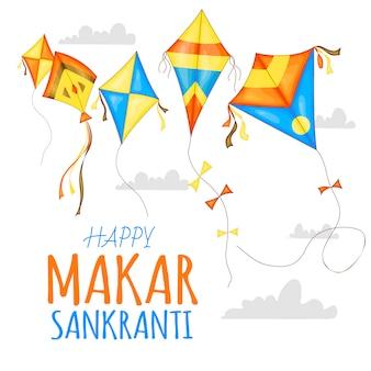 Vector kleurrijke vliegers voor happy makar sankranti festivalviering.