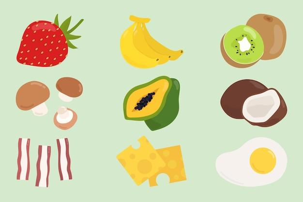 Vector kleurrijke voedselstickerset