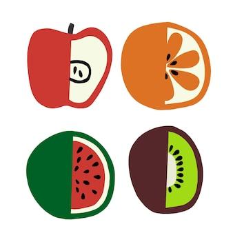Vector kleurrijke vruchten illustratie grafische bron digitale kunstwerken
