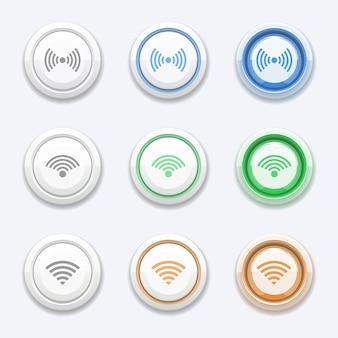 Vector knop met wifi of draadloos pictogram. zonestation, toegangsuitzending, gratis router en hotspot