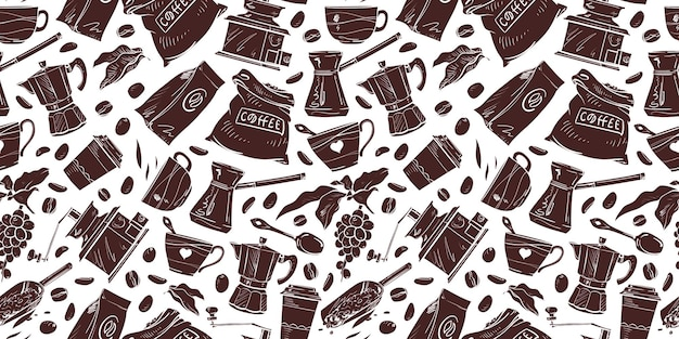Vector koffie artikelen instellen patten