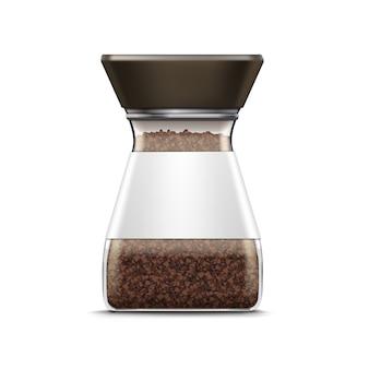 Vector koffie glazen pot verpakking pakket geïsoleerd op wit