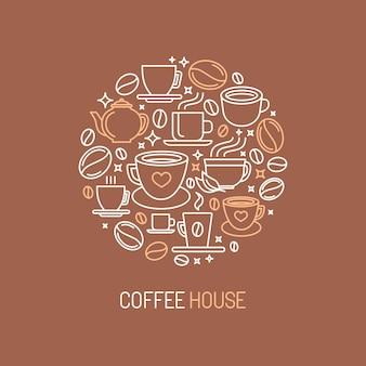 Vector koffie huis logo concept