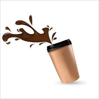 Vector koffiekopje en hart teken
