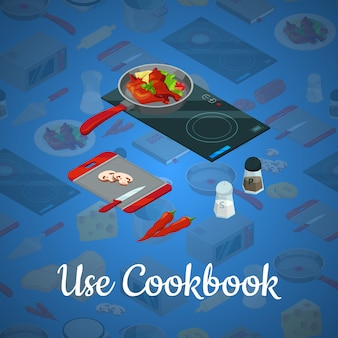 Vector koken voedsel isometrische blauwe illustratie