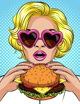 Vector komische de stijlillustratie van het kleurenpop-art van een meisje die een cheeseburger eten. mooie bedrijfsvrouw die een grote hamburger houdt. succesvolle jonge dame met open mond bijt een enorme hamburger