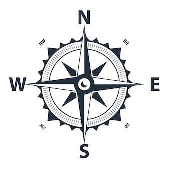 Vector kompas. eenvoudig plat symbool. scheepsnavigatiesymbool met roos met noord, zuid, oost en west aangegeven