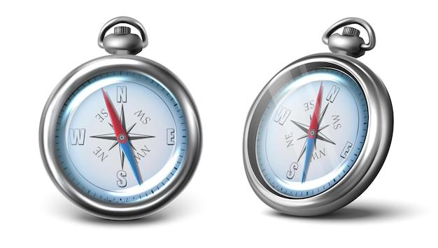 Vector kompas pictogram in twee weergave voor- en zijkant geïsoleerd op een witte achtergrond