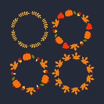 Vector krans van herfstbladeren en fruit in aquarel stijl. mooie ronde krans van geel
