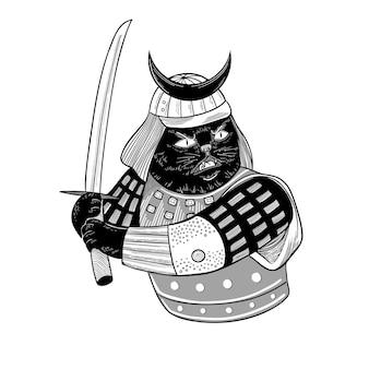Vector krijger kat met een zwaard japanse samurai zwarte kat in traditionele kleding